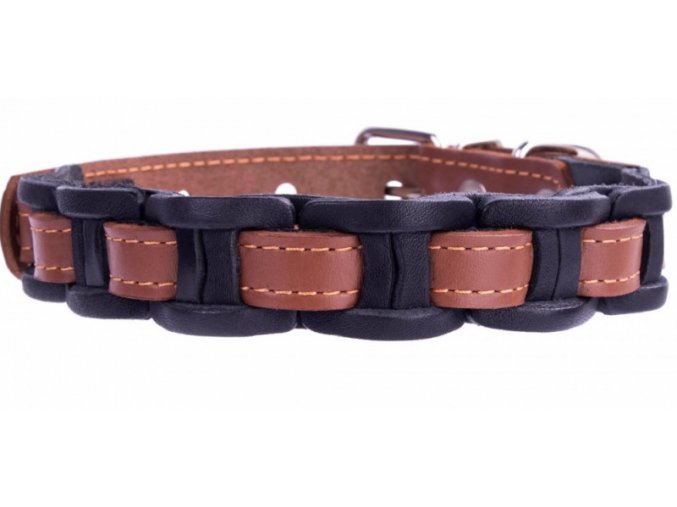 čierno-hnedý kožený obojok pre psa veľmi pekný