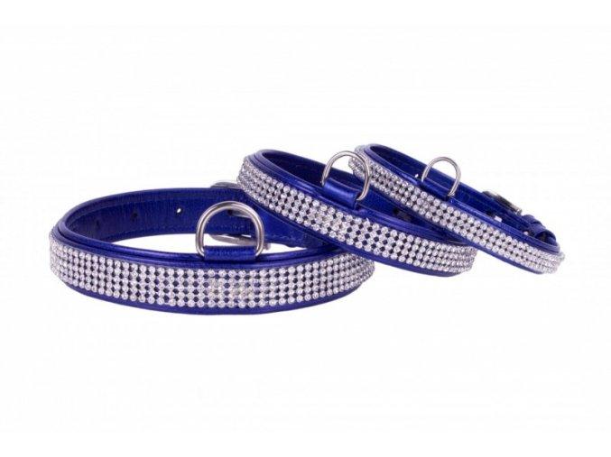 modrý kožený obojok s kryštálmi pre čivavu, ratlíka, jorkšíra, ši-tzu, maltézáka