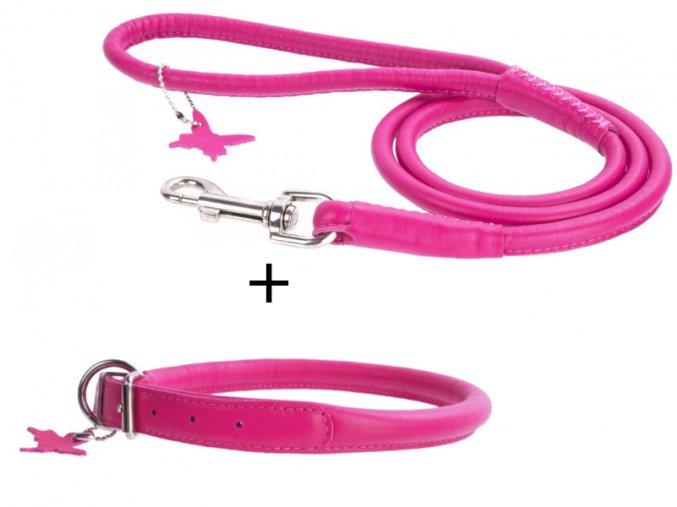 výhodný kožený set obojok a vodítko pre psa ružový