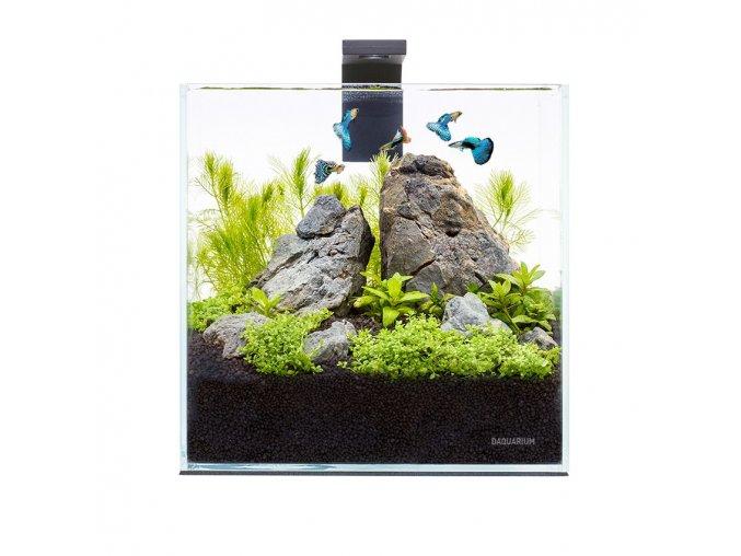 Akva set pico 5l pre beta rybky, krevety, rastlinky s filtrom LED svetlom, podložkou, krytom, číre sklo