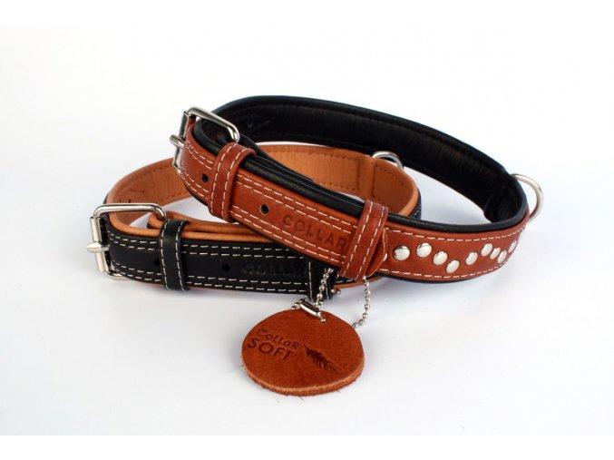 Veľmi jemný plochý kožený obojok pre psa Soft jahňacia koža hnedo-čierny vybíjaný