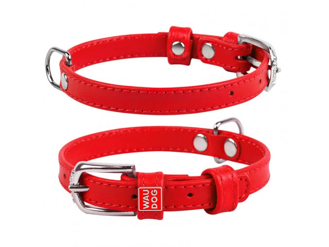 Plochý veľmi kvalitný kožený dvojvrstvový obojok pre psa červenej farby