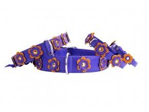 kožený obojok pre psa s kvietkami fialový