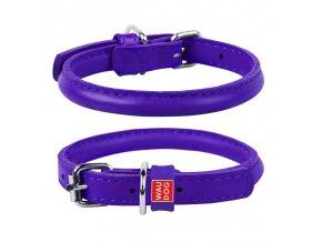okrúhly kožený fialový obojok pre dlhosrtsté psy
