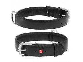 Plochý veľmi kvalitný kožený dvojvrstvový obojok pre psa čiernej farby