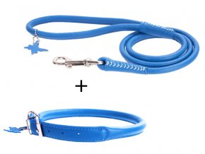 výhodný kožený  obojok a vodítko pre psa modrý set
