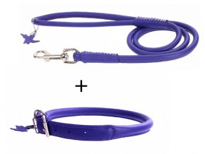 výhodný kožený obojok a vodítko pre psa fialový set