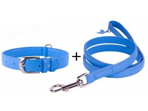Obojok a vodítko plochý kožený set pre psa modrej farby