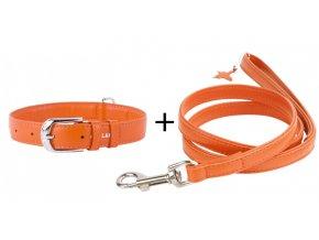 Obojok a vodítko plochý kožený set pre psa oranžovej farby