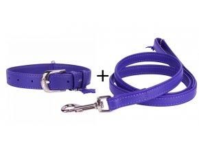 Obojok a vodítko plochý kožený set pre psa fialovej farby