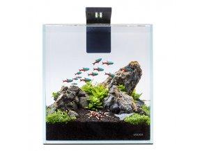 Akva set nano 10l pre beta rybky, krevety, rastlinky s filtrom LED svetlom, podložkou, krytom, číre sklo