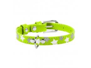 kožný obojok reflexný a svietiaci fosforeskujúci zelený s hviezdičkami
