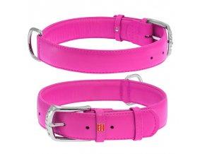 Plochý veľmi kvalitný kožený dvojvrstvový obojok pre psa ružovej farby