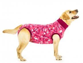 pooperačné ochranné oblečenie pre fenu ružové