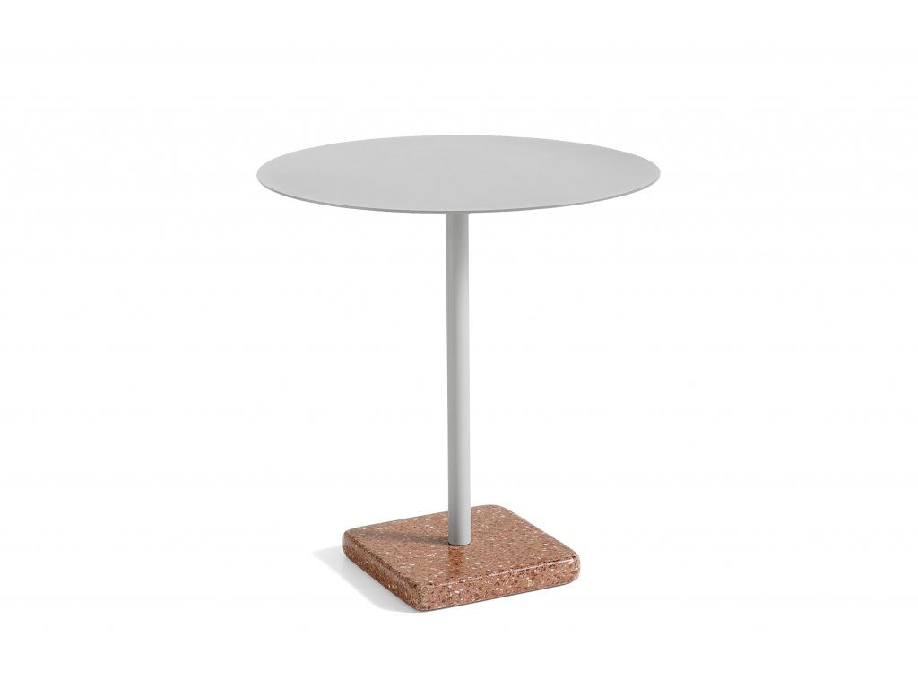1952111009000 Terrazzo Table Round dia70 Red base Sky grey top