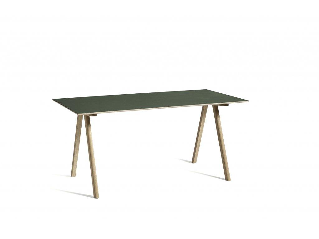 2634992049000 CPH 10 Desk L160xW80 green lino wb lacquer oak base