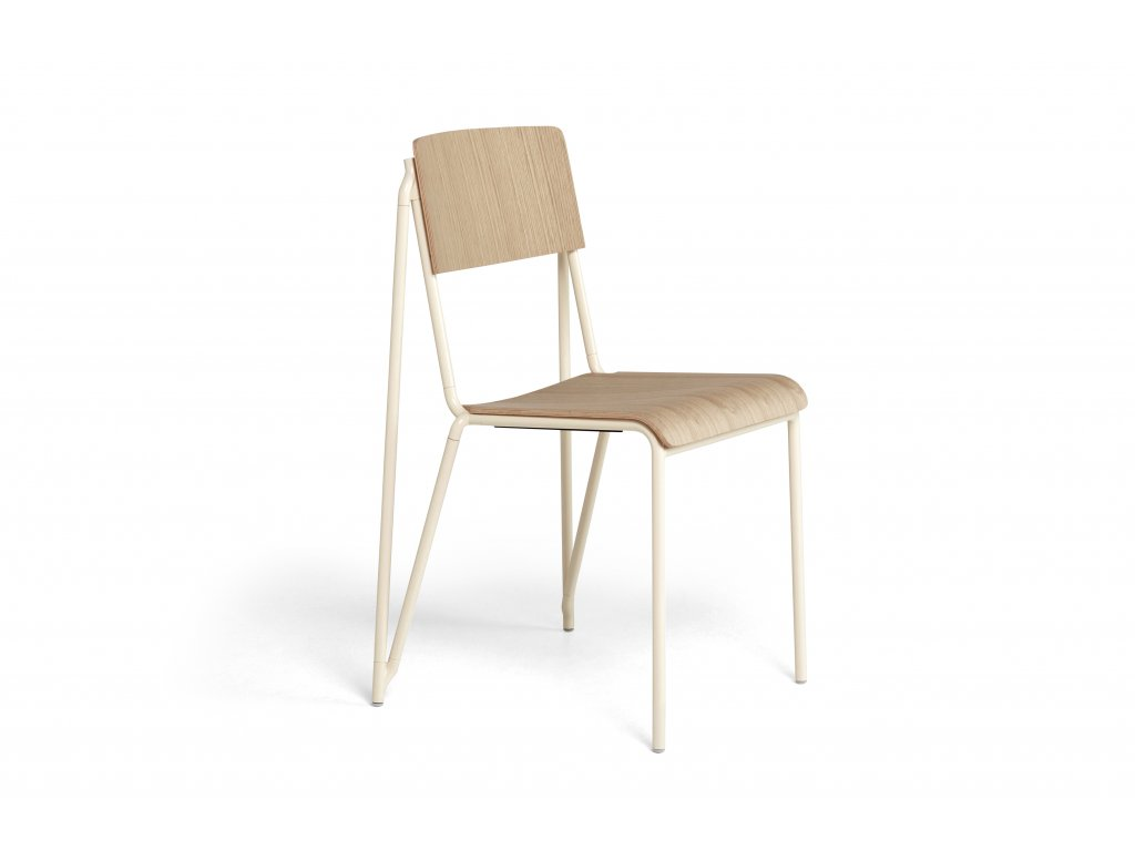 936855 Petit Standard matt lacquered oak veneer seat and back pearl powder coated steel base