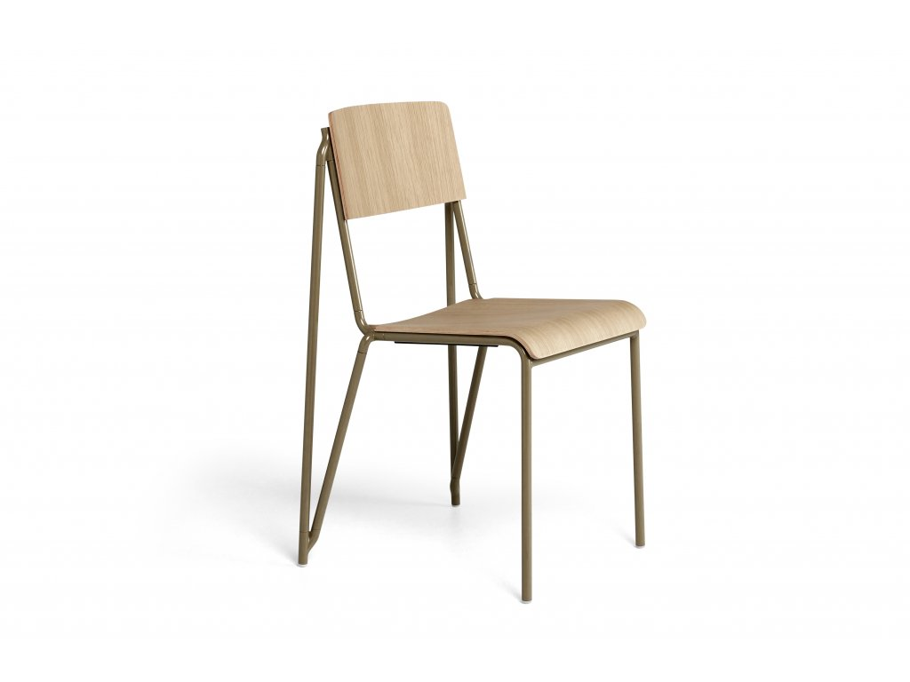 936859 Petit Standard matt lacquered oak veneer seat and back clay powder coated steel base