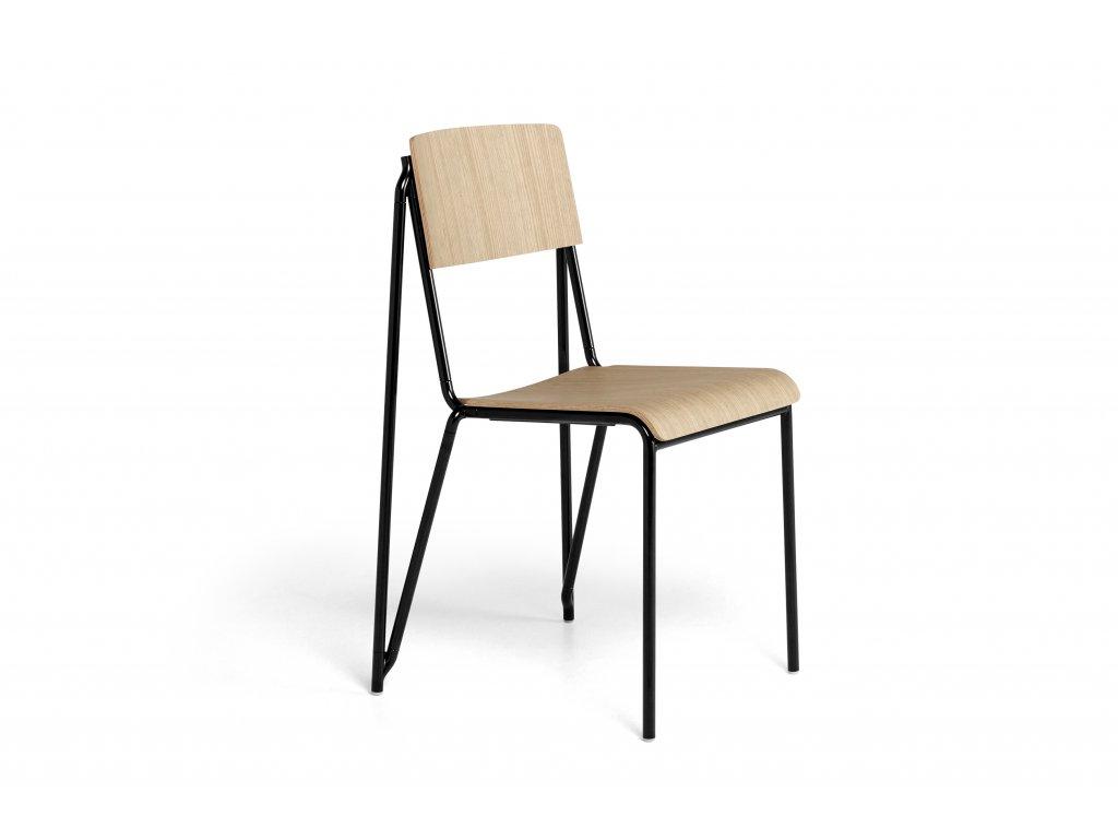 936853 Petit Standard matt lacquered oak veneer seat and back black powder coated steel base