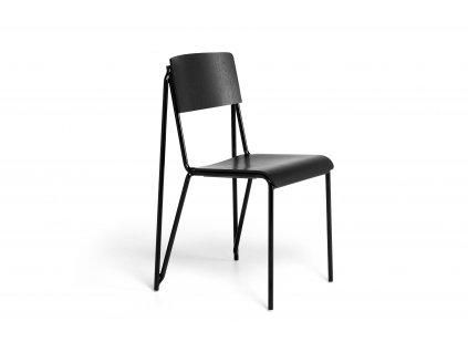 936851 Petit Standard black stained oak veneer seat and back black powder coated steel base