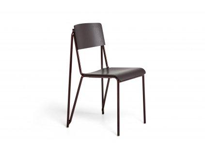 936861 Petit Standard dark bordeaux stained oak veneer seat and back dark bordeaux powder coated steel base