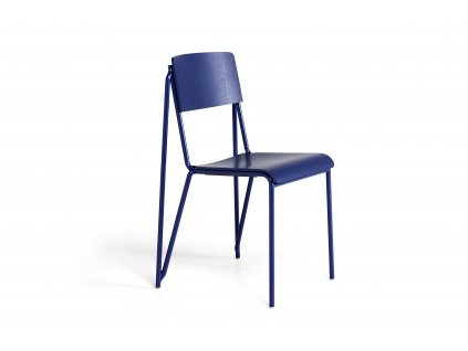 936863 Petit Standard ultra marine blue stained oak veneer seat and back ultra marine blue powder coated steel base