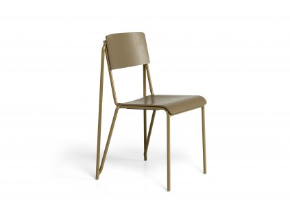 936857 Petit Standard clay stained oak veneer seat and back clay powder coated steel base