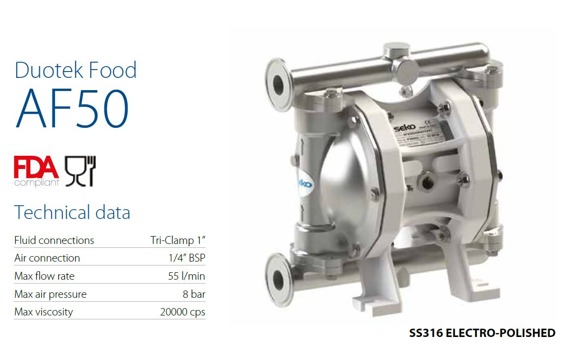 Membránové čerpadlo s FDA certifikátem na stlačený vzduch SEKO Create Flow