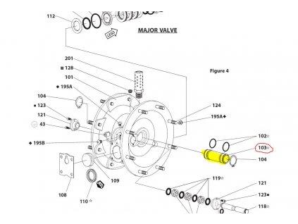 Vzduchová část sleev pozice 103 pro membránové čerpadlo ARO 66120 244 C Crate Flow