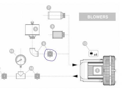 Dmychadlo BLOWERS SEKO BLKC PN pozice 6 Nipple PVC Create FLow