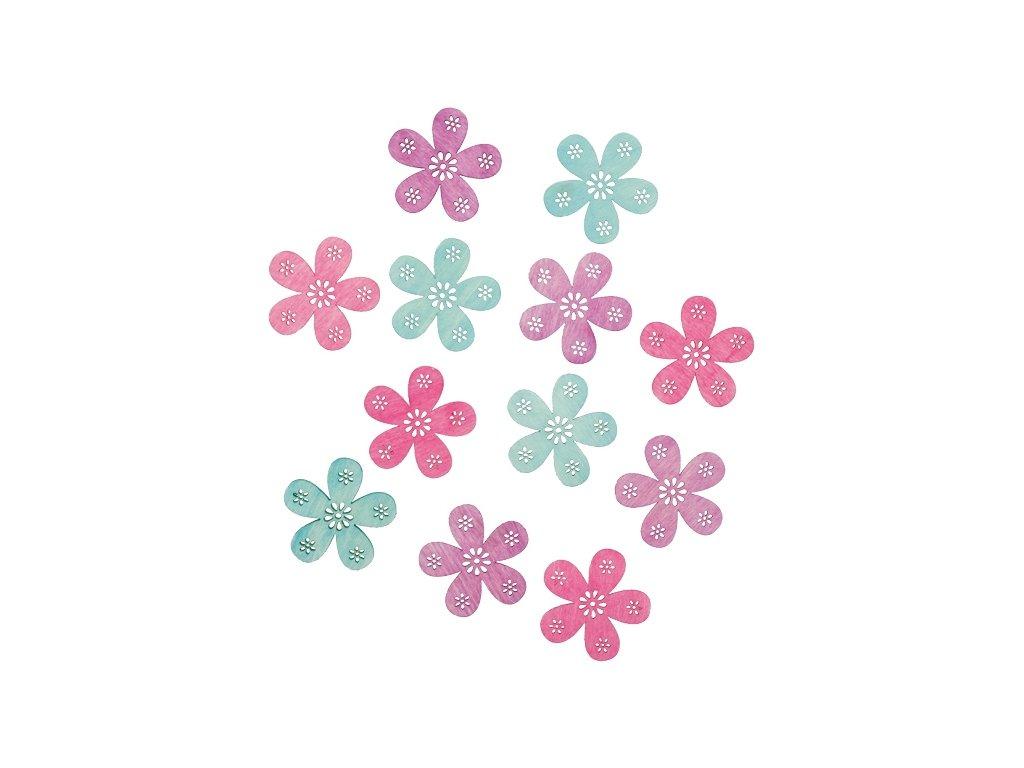 Dřevěné květy 4 cm, 12 ks