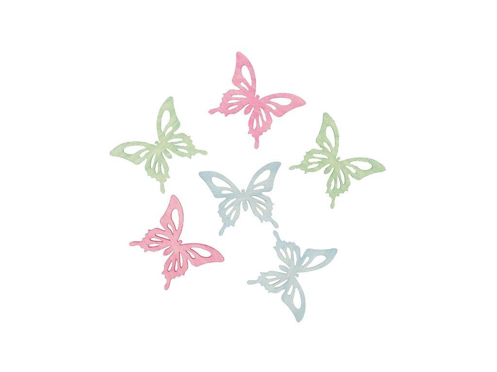 Dřevění motýli 6 cm, 6 ks