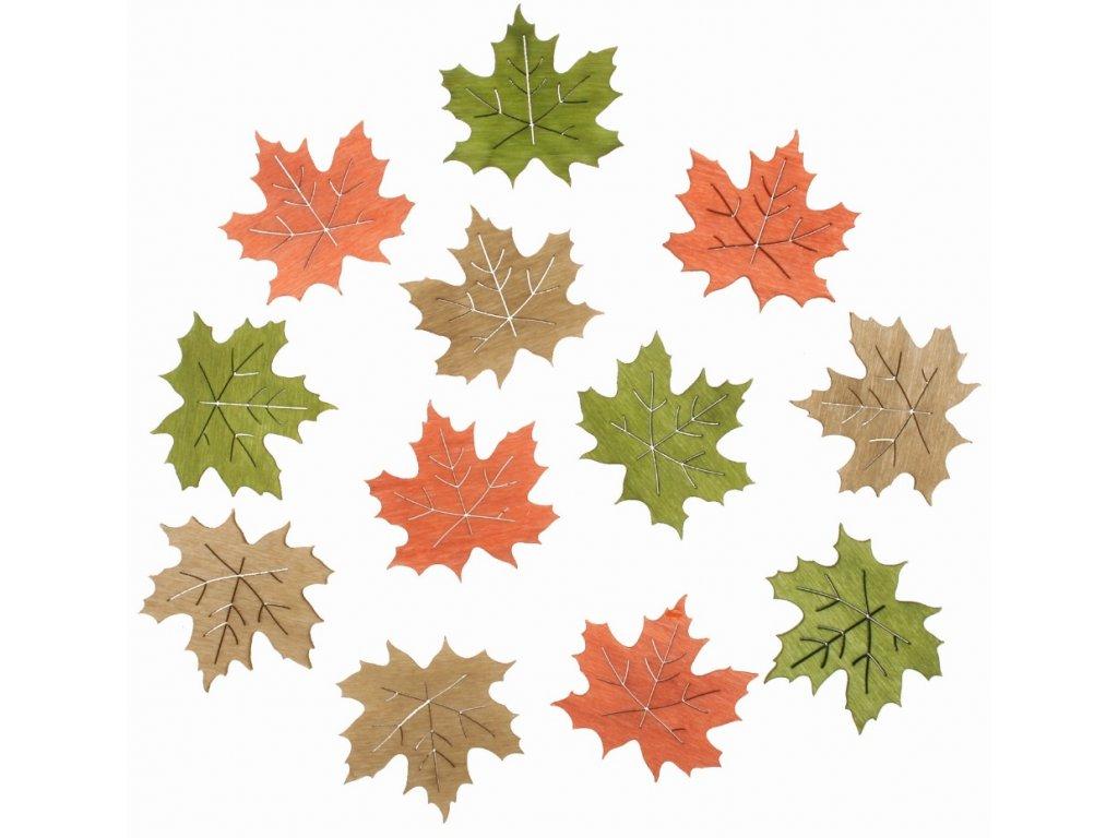 Dřevěné listy 4 cm, 12 ks