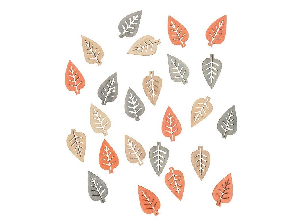 Dřevěné listy přírodní barvy 2 cm, 24 ks