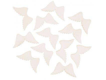 Dřevěná křídla přírodní 4 cm, 12 ks