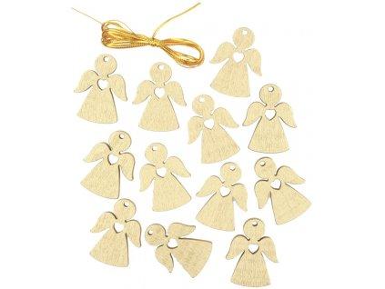 Anděl dřevěný zlatý 3 cm 12 ks na zavěšení