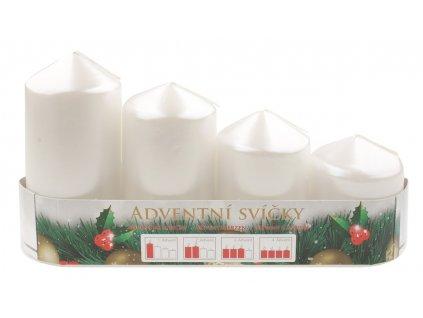 Adventní svíce válec bílá LAK, postupka, 4 ks