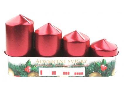 Adventní svíce válec červená LAK, postupka, 4 ks