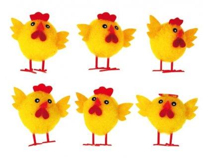 Kuřátka plyšová 5,5cm, 6ks v sáčku