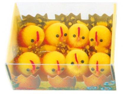 Kuřátka plyšová s peříčkem 3 cm, 8 ks v krabičce
