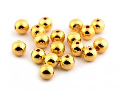 Plastové metalické korálky  Ø8 mm - zlaté