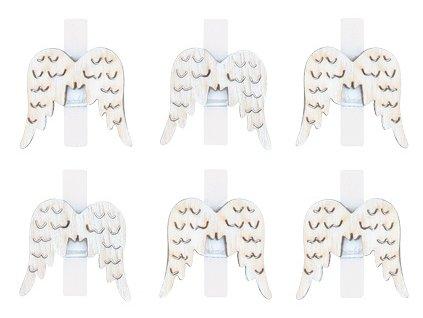 Andělská křídla dřevěná na kolíčku 3 cm, 6 ks, přírodní