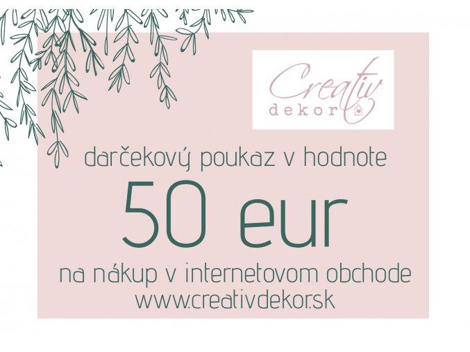 Darčeková poukážka v hodnote 50eur
