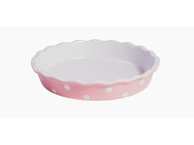 Pink pie dish with dots Isabelle Rose