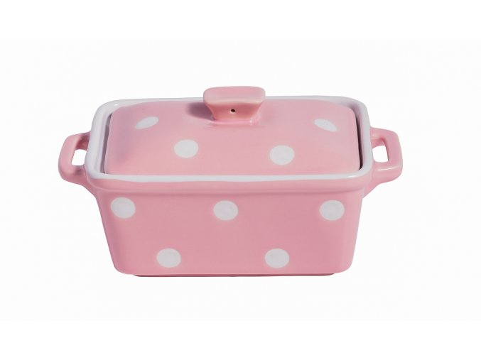 Pink butter dish with dots Isabelle Rose
