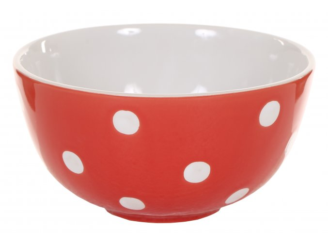 Red soup bowl with dots Isabelle Rose