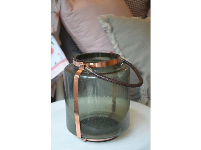 Sklenený lampáš - tmavozelený