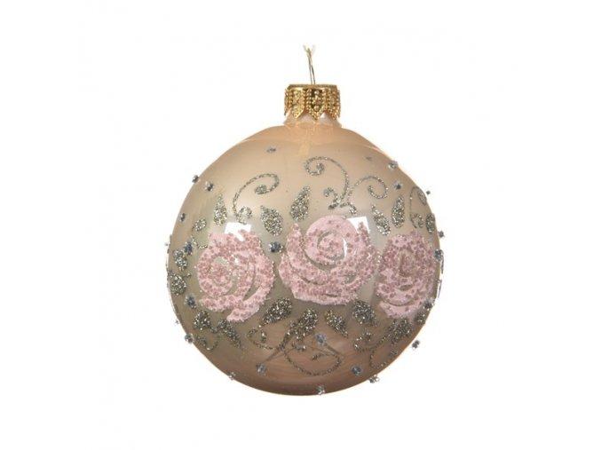 Vianočná guľa Flowers - ružová