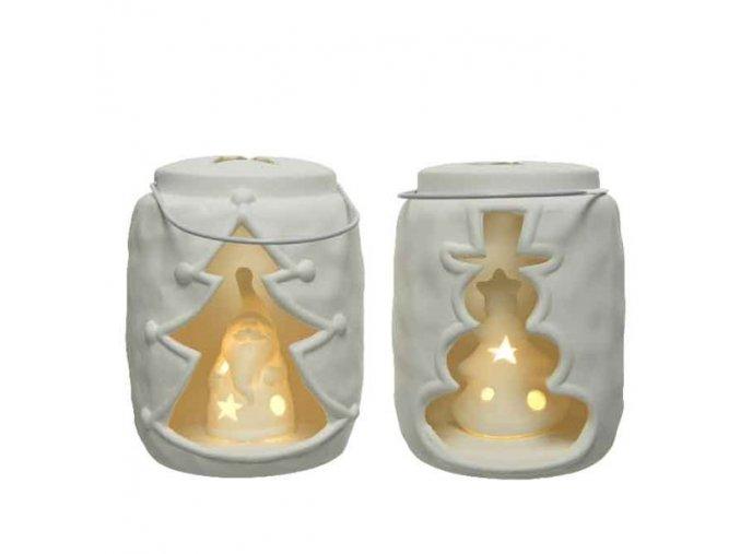 Porcelánová LED lucerna - snehuliak