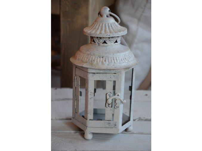 Lampáš kovový - biela patina